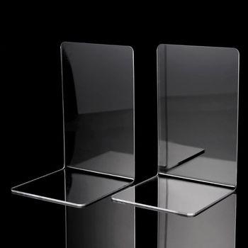 2 sztuk przezroczysty akrylowy Bookends w kształcie litery L Organizer na biurko pulpit stojak na książkę szkoła papiernicze artykuły biurowe XXUC tanie i dobre opinie NoEnName_Null XXUC5AC1101324 Acrylic