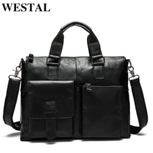 WESTAL Mens Bag Genuine Leather Briefcase Men Laptop Bag Leather Office Bags for Men Totes Business Briefcase Bags for Document