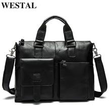 WESTAL erkek çanta hakiki deri evrak çantası erkek Laptop çantası deri ofis çantaları için erkekler tote iş çantası çanta belge