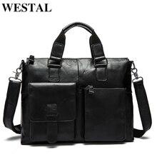 WESTAL torba męska oryginalna skórzana teczka męska torba na laptopa skórzane torebki biurowe dla mężczyzn skrzynki walizka biznesowa torby na dokumenty
