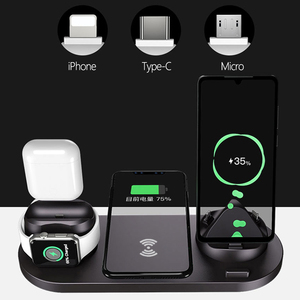 Image 2 - ワイヤレス充電器多機能高速充電 iphone 用スタンド 11 プロ x xs 時計 5 4 3 airpods プロワイヤレス急速充電器