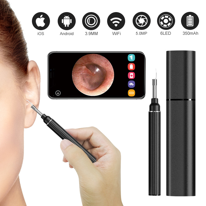 Ear Camera 5 0MP 1080P FHD WiFi Ear Scope Wireless iPhone Ear Scope Camera with 6-Axis Gyroscope For Android iOS Smartphone