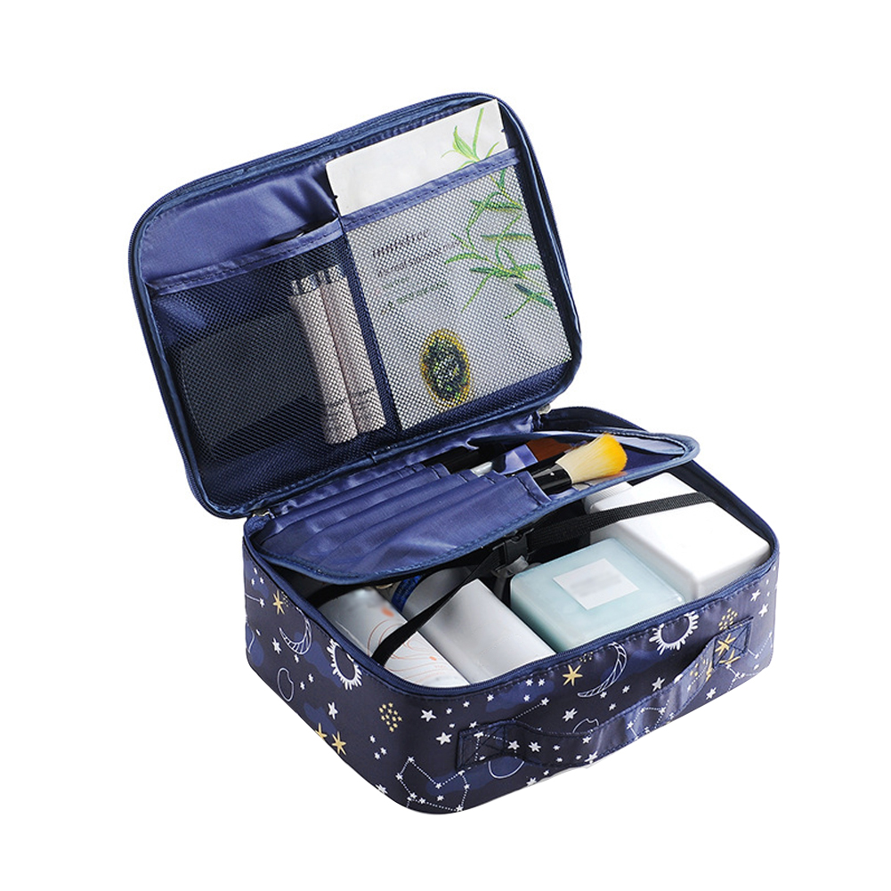 Home Storage Practical Large Capacity Printed Makeup Bag Removable Compartment PVC Bathroom Portable Travel Waterproof Organizer