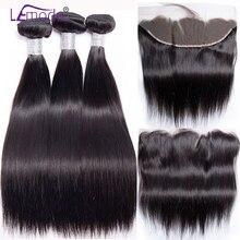 Extensiones de cabello humano liso con cierre Frontal extensiones de pelo ondulado brasileñas con cierre Frontal 100% extensiones de cabello humano