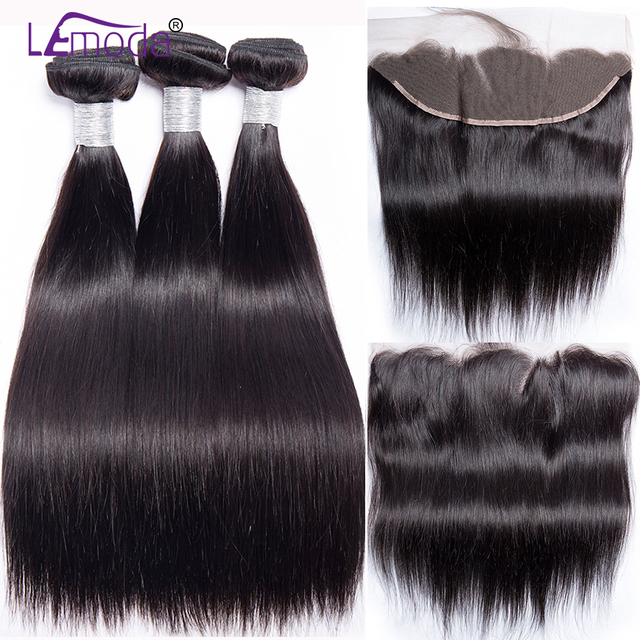 Straight Human Hair Bundles With Frontal Closure Brazilian Hair Weave Bundles With Frontal Closure 100% Human Hair Extensions