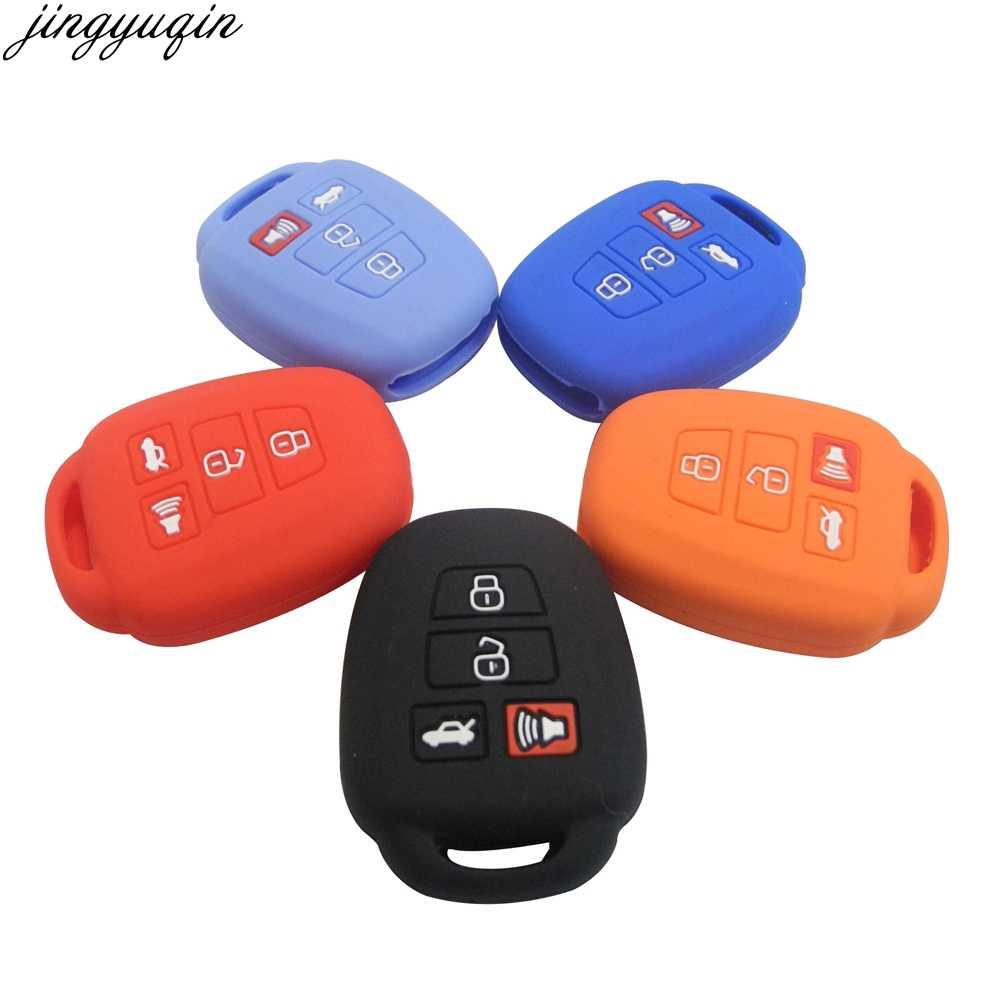KY-Camry-GJTM-08G11 de Suave Rojo Funda para Llave Smart Key para Coche 2018 2019 Toyota Camry Corolla Avalon Prius C-HR RAV4 3 4 Buttons Carcasa Protectora Silicona
