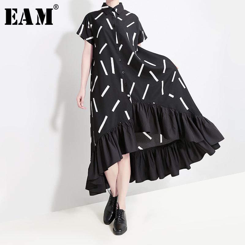 [EAM] Women Black Pattern Printed Ruffles Big Size Shirt Dress New Lapel Short Sleeve Loose Fit Fashion Spring Summer 2020 1T438