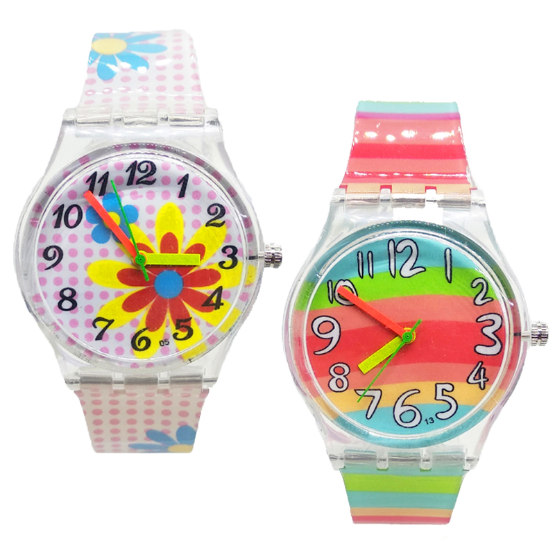 Big Flowers Colorful Transparent Children Watch Girls Student Clock Quartz Kids Watches Boys Sports Butterfly Watch For Kid Gift