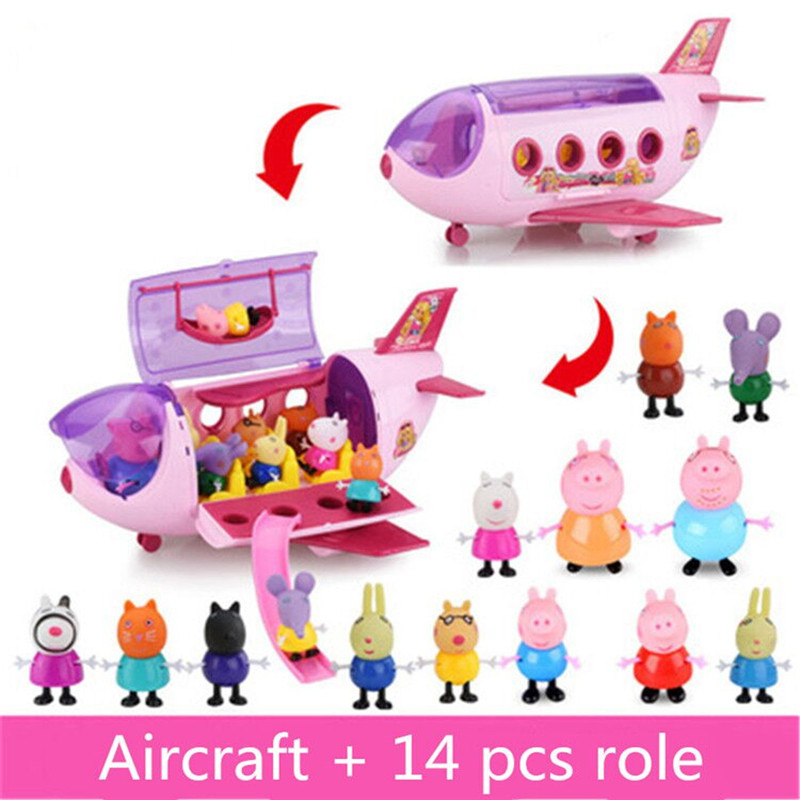 Fashion Aircraft Model Peppa Pig Anime Kids Toys Family Pack Full Roles Doll Action Figure Children Birthday Gifts