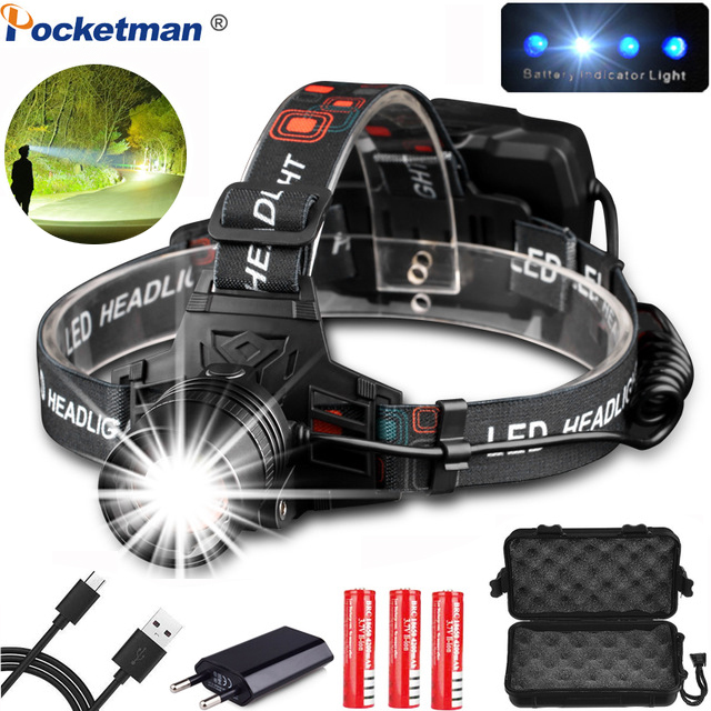 Powerfull USB Rechargeable XHP50 Headlamp XPE+COB Headlight High Powerful Xhp70 Head Lamp Torch ZOOM Head Light Best For Camping