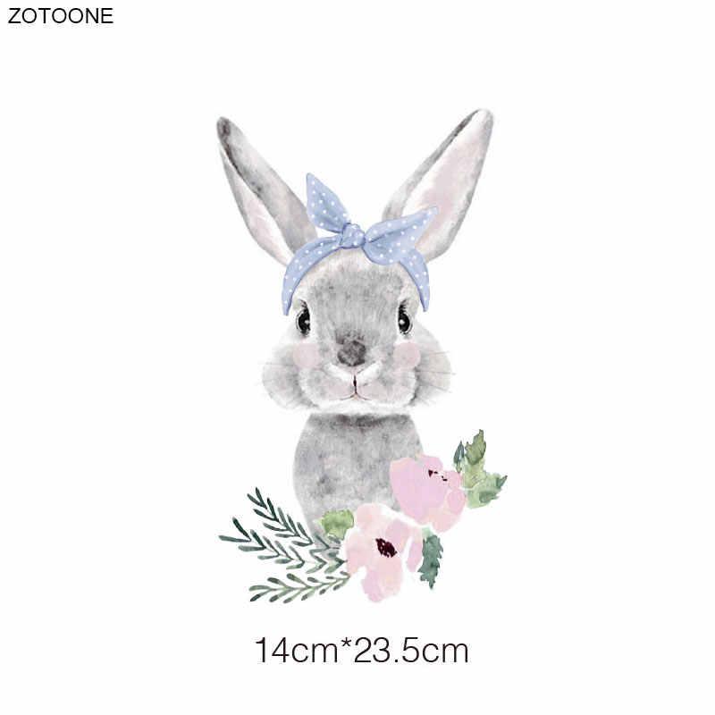 ZOTOONE กระต่ายน่ารักดอกไม้แพทช์เหล็กบนแพทช์สำหรับเสื้อผ้าสติกเกอร์อีสเตอร์สำหรับเด็กโอนความร้อนการใช้งาน DIY Appliques G