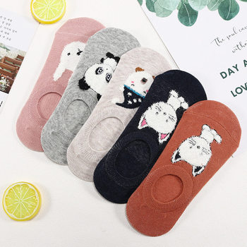 цена на 5 Pairs Women's Short Socks Amozae Color Female Low Cut Ankle Sock Summer Spring Girl Simple Cotton Sock Animal Cartoon Socks