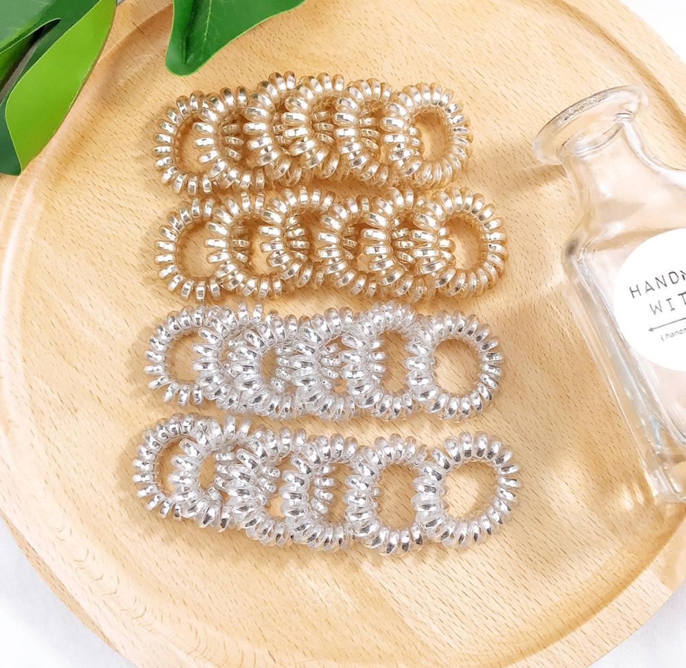2PCS Silicon Rubber Spring Hair Band Transparent Golden/Silver Telephone Wire Rubber Band  Spring Hair Rope Hair Accessories