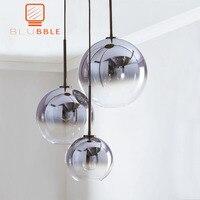 BLUBBLE Modern Pendant Light Silver Gold Gradient Glass Ball Hanging Lamp Hanglamp Kitchen Fixture Dining Living Room Light