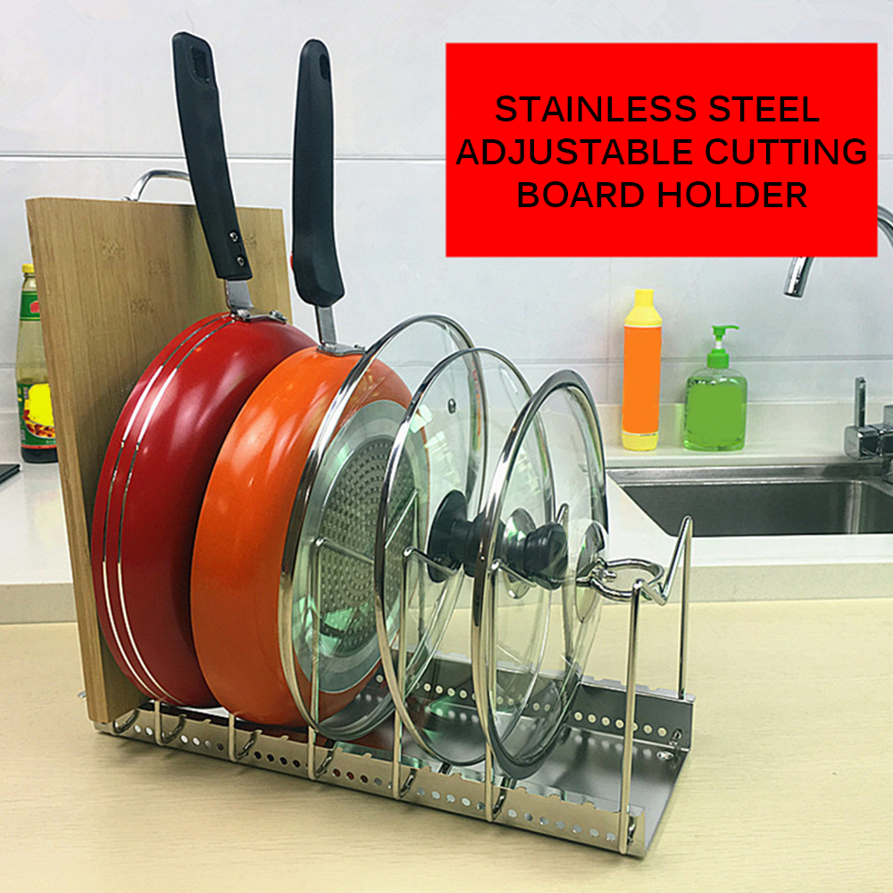Image 4 - Plated Dish Racks 5/7 Slots Steel Plate Organizer Countertop Drying Stand Bowl Plate Dish Cup Cutler Drainer Storage Pan CoverSpoon Rests & Pot Clips   -