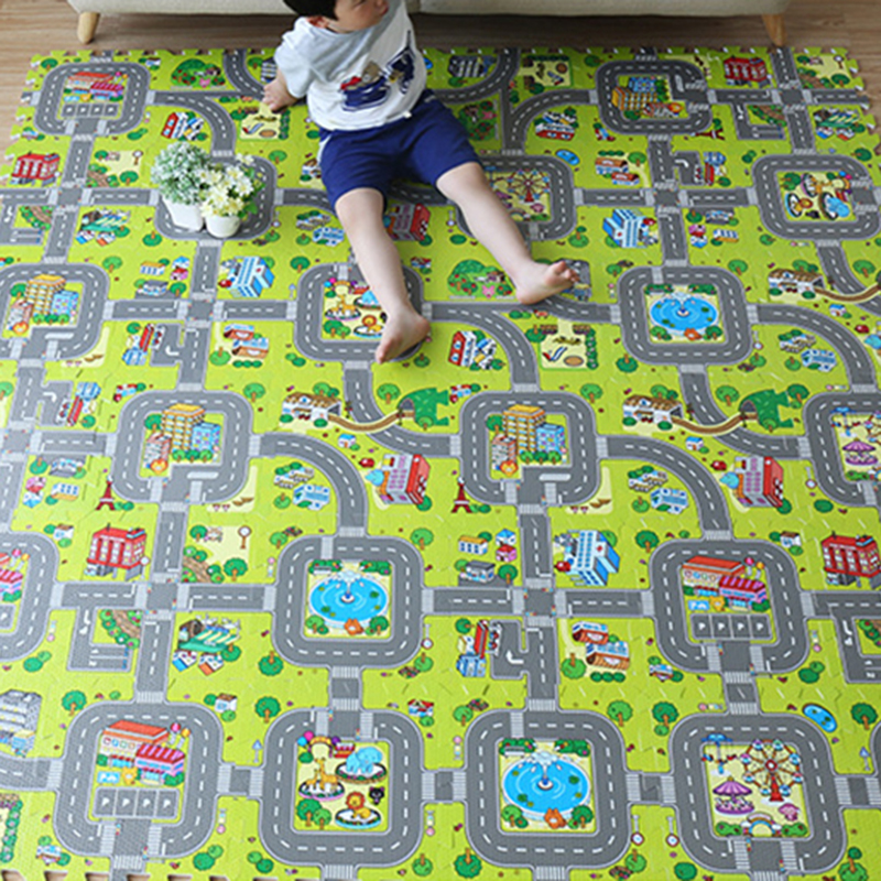 9PCS Kids Rug Developing Mat Eva Foam Baby Play Mat Toys For Children Mat Playmat Puzzles Carpets Car Track Mat Baby Gym Mat