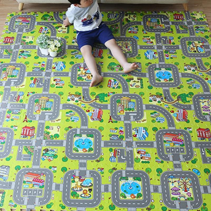 9PCS Kids Rug Developing Mat Eva Foam Baby Play Mat Toys For Children Mat Playmat Puzzles Carpets Car Track Mat Baby Gym Mat