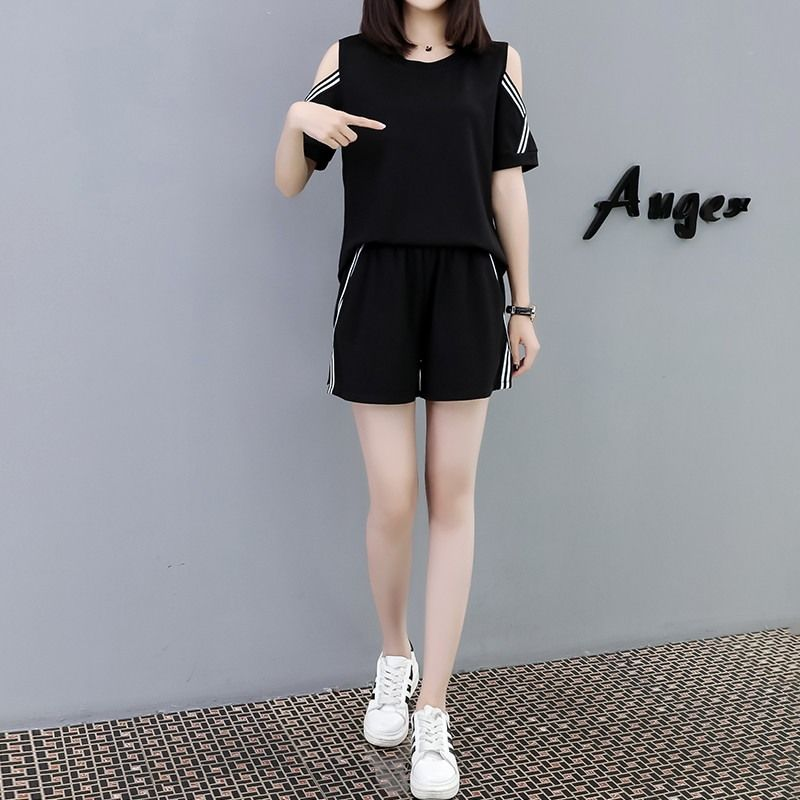 Large Size Women's Casual Suit Summer Loose Thin Strapless Two-piece Short-sleeved T-shirt 5