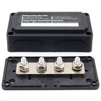 DC 48V 300A 4 Terminal Studs Busbar Power Distribution Block for Car Boat (Black)