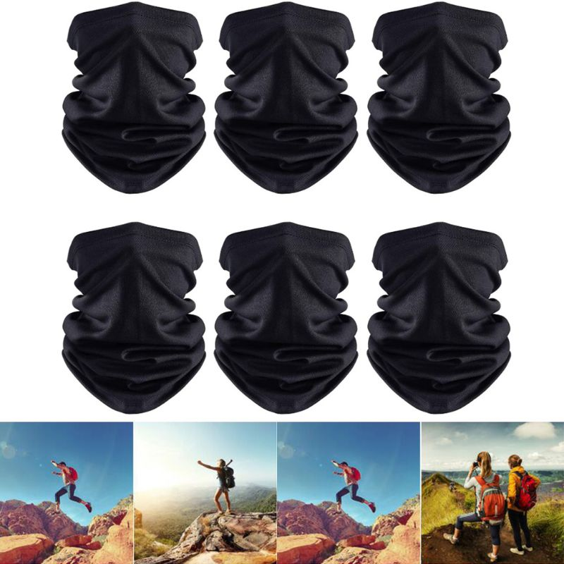 6Pcs Unisex Seamless Neck Gaiter Dustproof Bandana Face Mask UV Protection Breathable Mesh Headwear For Cycling Running