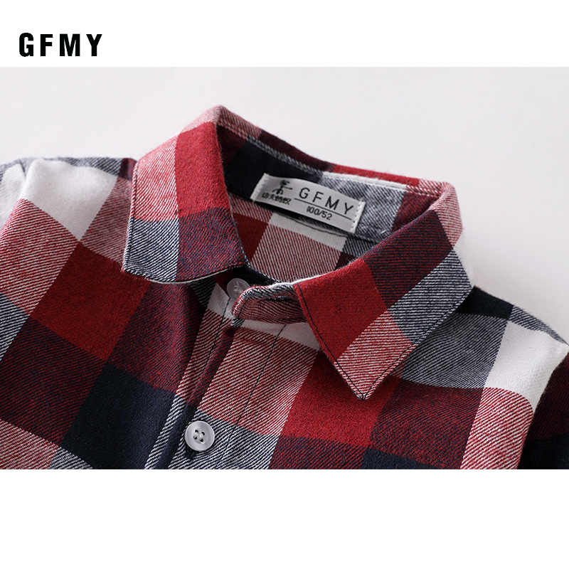 Gfmy 2020 Mùa Thu 100% Cotton Tay Dài Phong Cách Thời Trang Trẻ Em Áo Sơ Mi Kẻ Sọc 2T-14T Thường Ngày Big Kid Quần Áo có Thể Một Áo Khoác