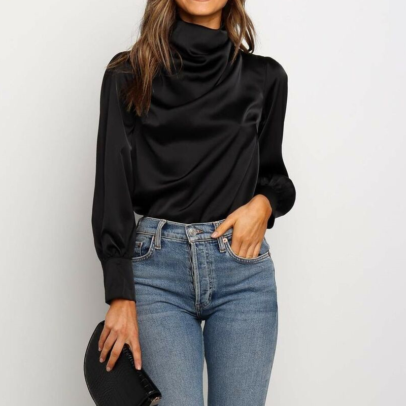 2019 Autumn Fashion Womens High Neck Blouses Long Sleeve Solid Black Tops Casual Loose Plain Ladies Blouse Elegant Shirt S-XL