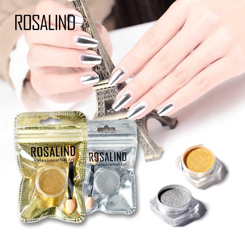 Rosalind ทองเงินชุดเล็บ Magic Mirror Chrome Powder ฟองน้ำฝุ่นเล็บ Need เจลสีดำ-Lacquer Need สีดำเคลือบเงา