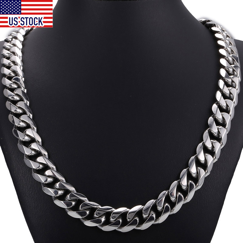 14.5mm Wide Heavy Polished 316L Stainless Steel Mens Necklace Cut Curb Cuban Link Chain Male Jewelry Dropshipping DHN48