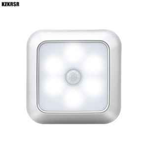 Image 1 - 6 светодиодов, PIR датчик движения, ночные светильники, светодиодный шкаф, ночник, батарея, сенсор, освещение для шкафа, лестницы, прихожей, дома, спальни