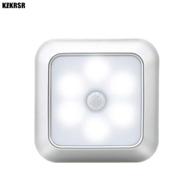 6 светодиодов, PIR датчик движения, ночные светильники, светодиодный шкаф, ночник, батарея, сенсор, освещение для шкафа, лестницы, прихожей, дома, спальни