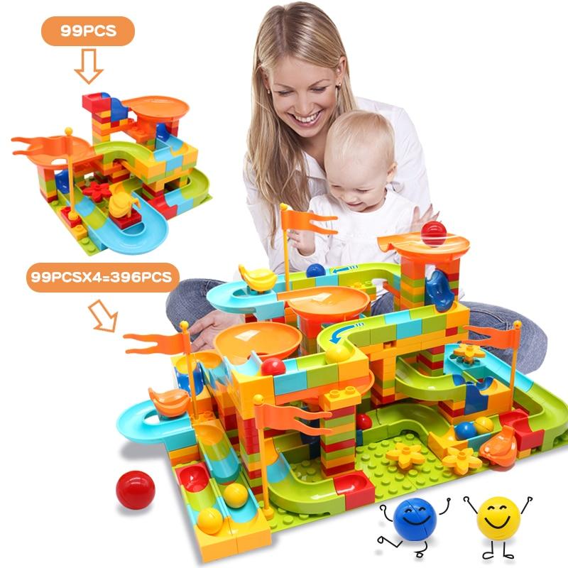 99-396PCS Big Size Blocks Marble Race Run Maze Ball Plastic Construction Building Blocks Funnel Slide Toys For Children Kid Gift