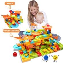 Tamanho grande blocos de montagem de mármore corrida labirinto bola blocos de construção funil slide brinquedos para crianças presentes do miúdo