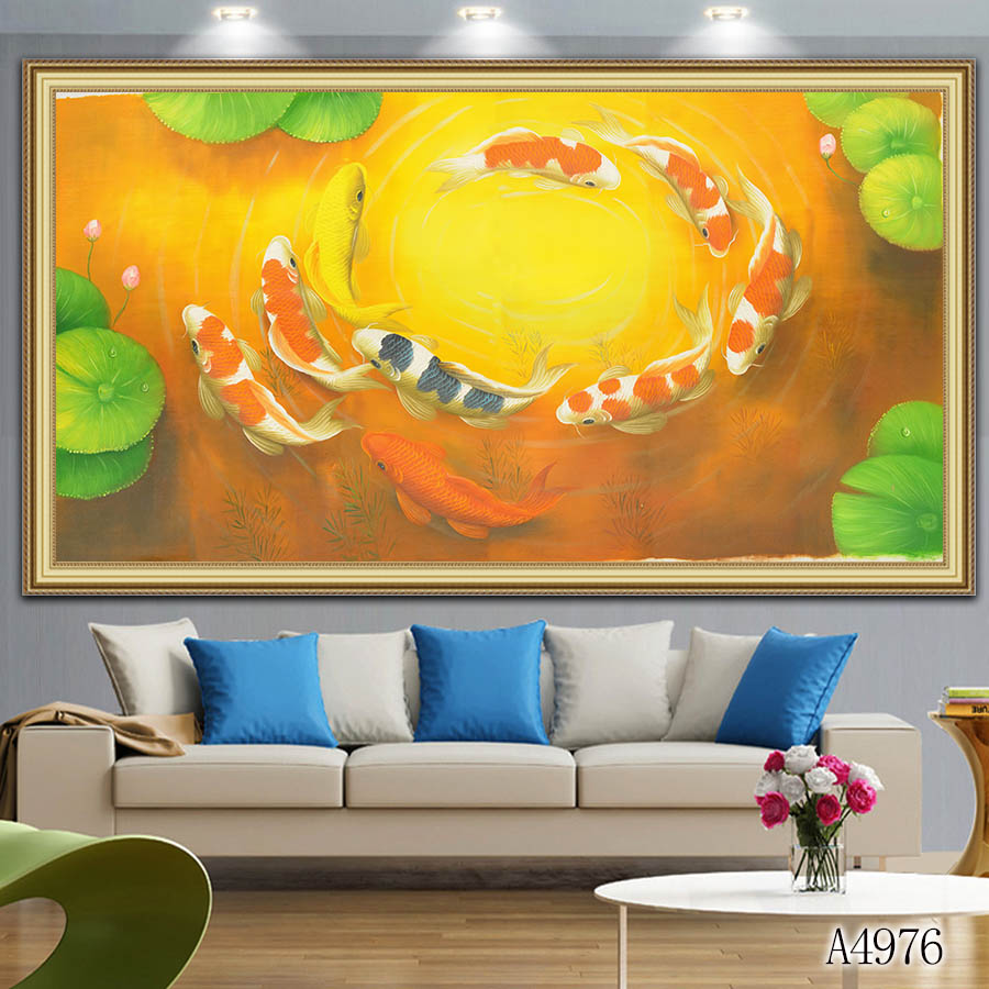 Print Chinese Abstract Nine Koi Fish Lotus Oil Painting On Canvas