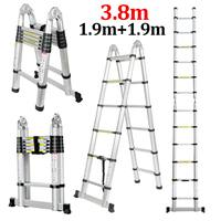 Ladder Telescopic 1.9m+1.9m 12.5FT Folding Ladder Dual Use Herringbone Ladders Single Extension Alloy Aluminium Tools Home