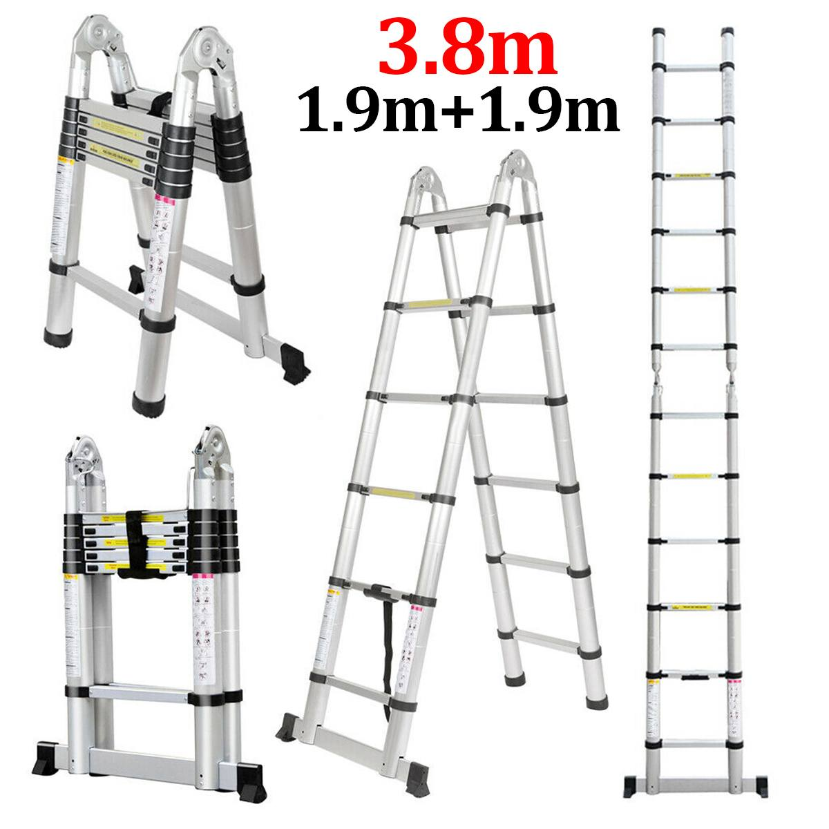 Ladder Telescopic 1.9m+1.9m 12.5FT Folding Ladder Dual-Use Herringbone Ladders Single Extension Alloy Aluminium Tools Home