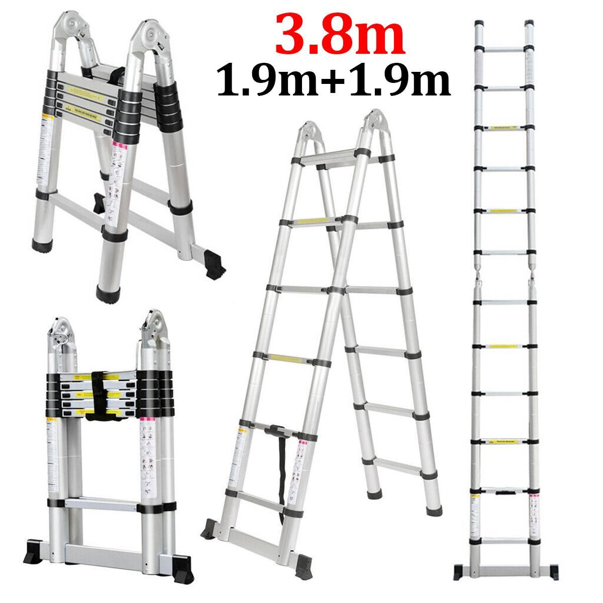 Ladder Telescopic 1.9m+1.9m 12.5FT Folding Ladder Dual-Use Herringbone Ladders Single Extension Alloy Aluminium Tools Home