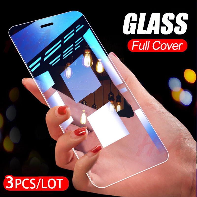 3Pcs Protective Glass On The For iPhone X Xr XS Max Tempered Screen Protector for iPhone 7 8 Plus 6 6s Plus 5 5s se Glass Film-in Phone Screen Protectors from Cellphones & Telecommunications