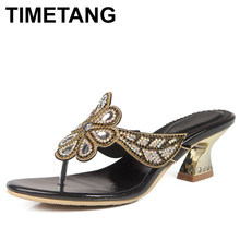 TIMETANGSummer Women New Fashion SlipOn Mules HighHeels Sandals Peep Toe Sexy Leather Slip Out Shoes Slippers Slippers Size35-44(China)