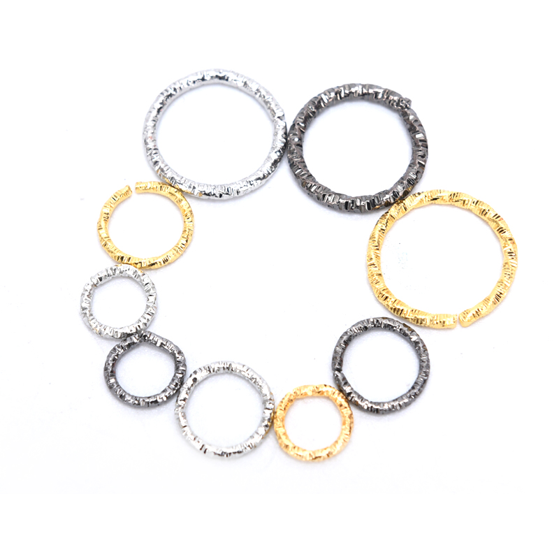 50/100Pcs Round Embossing Jump Rings Silver/Gold Color 8/10/15mm Connector DIY Jewelry Making Craft Findings Supplies