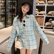 2019 Fashion Plaid Long Sleeve Womens Tops and Blouses Female Casual Turn-down Collar Shirts Blusas Korean Women Loose Blouse girls plaid blouse 2019 spring autumn turn down collar teenager shirts cotton shirts casual clothes child kids long sleeve 4 13t
