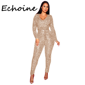 Sexy Sequins Jumpsuit Deep V-neck With Belt Bodysuit Long Rompers Womens Jumpsuit Women Party Night Clubwear Outfit