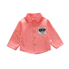 Boys Blouse Cotton Shirt Collared Spring Baby Kids Long-Sleeved Children's Thin Autumn