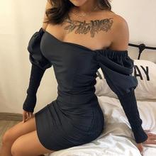 2019 new arrival women autumn party dresses back hollow sexy femme long sleeve dress