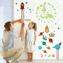 Wall-Stickers Growth-Chart Solar-System Mural-Decor Sky-Decals Measure Rocket-Height