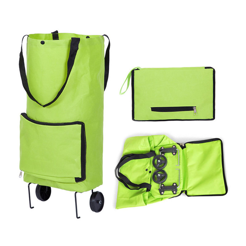 Portable Shopping Trolley Bag With Wheels Foldable Cart Rolling Grocery Green Shopping Bag Wheeled Shopping Bag