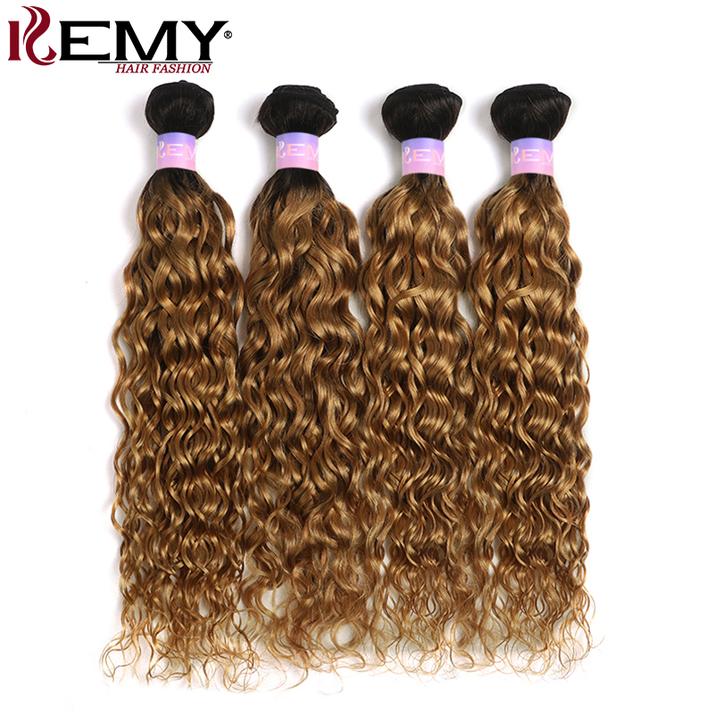 Ombre Blonde Water Wave Human Hair Bundles 8-26 Inch Ombre Brown Red Beazilian Hair Weave Bundles Non-Remy Hair Extension KEMY