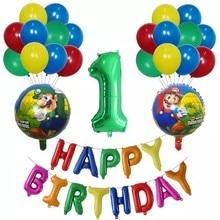 24 pçs dos desenhos animados super mario folha balões látex globo de ar 30 polegada número crianças brinquedos festa aniversário decoração mario luigi bros