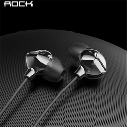 ROCK  In Ear Obsidian Stereo Earphone 3.5mm Immersive Headset for iPhone ipad Samsung of Luxury Earbuds With Mic Wired Earphone