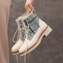 Blue lattice Denim cloth Genuine Leather Ankle Boots Lace Up Winter Platform Boots fashion Leisure Warm Plush High heeled shoes(China)
