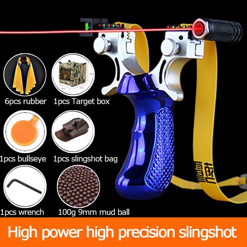2020 Baru Laser Bertujuan Katapel Presisi Tinggi Outdoor Berburu Katapel dengan Datar Karet Band Permainan Outdoor Sling Shot Set